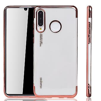 Étui de téléphone pour Huawei, Lite rose-Clear-TPU étui de protection en silicone cas backcover en transparent/brillant bord rose rose