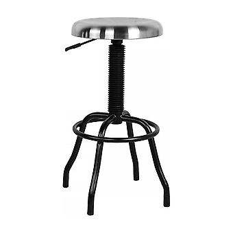 Fusion Living Silver And Black Industrial Style Bar Stool
