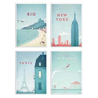4 Plakaty artystyczne 20 x 30 cm - Odwiedź miasta - Henry Rivers 20 x 30 cm