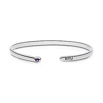 New York University Engraved Sterling Silver Amethyst Cuff Bracelet