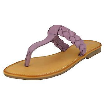Damer läder kollektion flätade Toepost sandaler