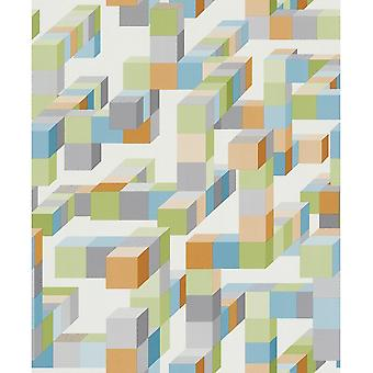 Rasch Trendspots 3D pleinen kubus patroon ontwerper wit blauw groen behang 896350