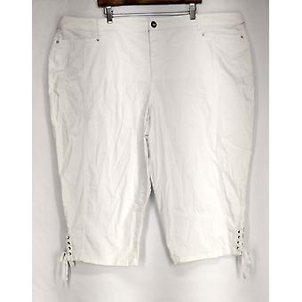 Estilo & Co. Plus calças barriga controle Capri estilo branco das mulheres