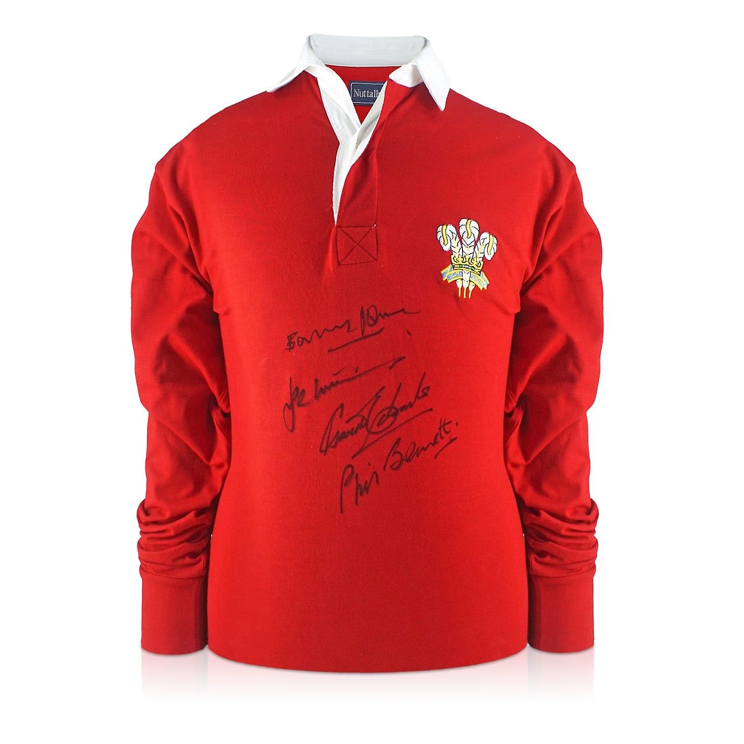 Wales Rugby Shirt Signed By Gareth Edwards, JPR Williams, Phil Bennett And Barry John