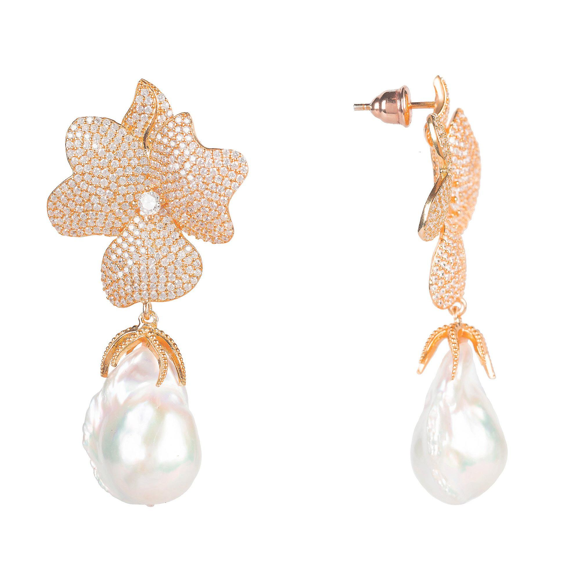 Latelita Baroque Pearl White Flower Rose Large Earrings Gold 925 Silver CZ Pink