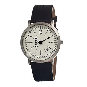 Breed Kimble One-Hand Leather-Band Men's Watch-Silver