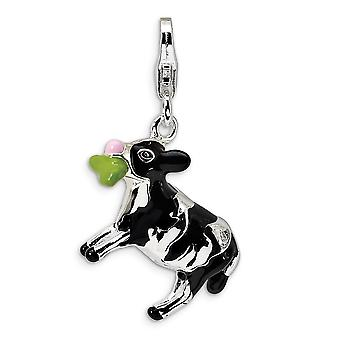 925 Sterling Silver Rhodium plated Fancy Lobster Closure 3 D Enameled Eating Cow With Lobster Clasp Charm Pendant Neckla