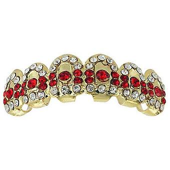 Grillz Guld Gatekeeper Iced Out Clear Cz Diamonds N Red Ruby [top]