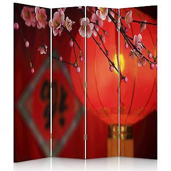 Divisor de quarto, 4 painéis, duplo-face, lona, lanterna japonesa