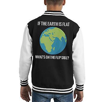 Als de aarde platte whats is op de Flip side platte aarde Kid ' s Varsity Jacket