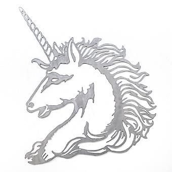 Unicorn portret-Metal cut teken 24 x 22 in