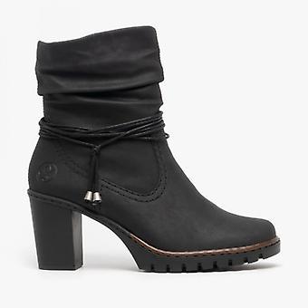 ريكر Y2591-01 السيدات كتلة كعب الكاحل أحذية الأسود