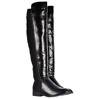 Onlineshoe Extra Wide Stretch Over The Knee Thigh High Flat Riding Boot - Black Pu