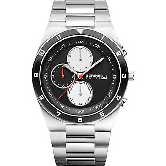 Bering Solar Silver Silver Stainless Steel Strap Men's Horloges 34440-702 44mm
