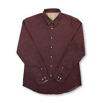 HUGO BOSS Bustai regular fit cotton shirt in dark red with spots