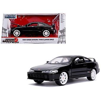 1995 Honda Integra Type-R Japan Spec RHD (Right Hand Drive) Glossy Black with Carbon Hood and White Wheels JDM Tuners 1/24 Diecast Model Car by Jada