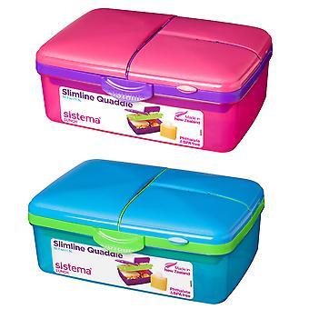 Sistema Set of 2 Slimline 1.5L Quaddies, Blue and Pink