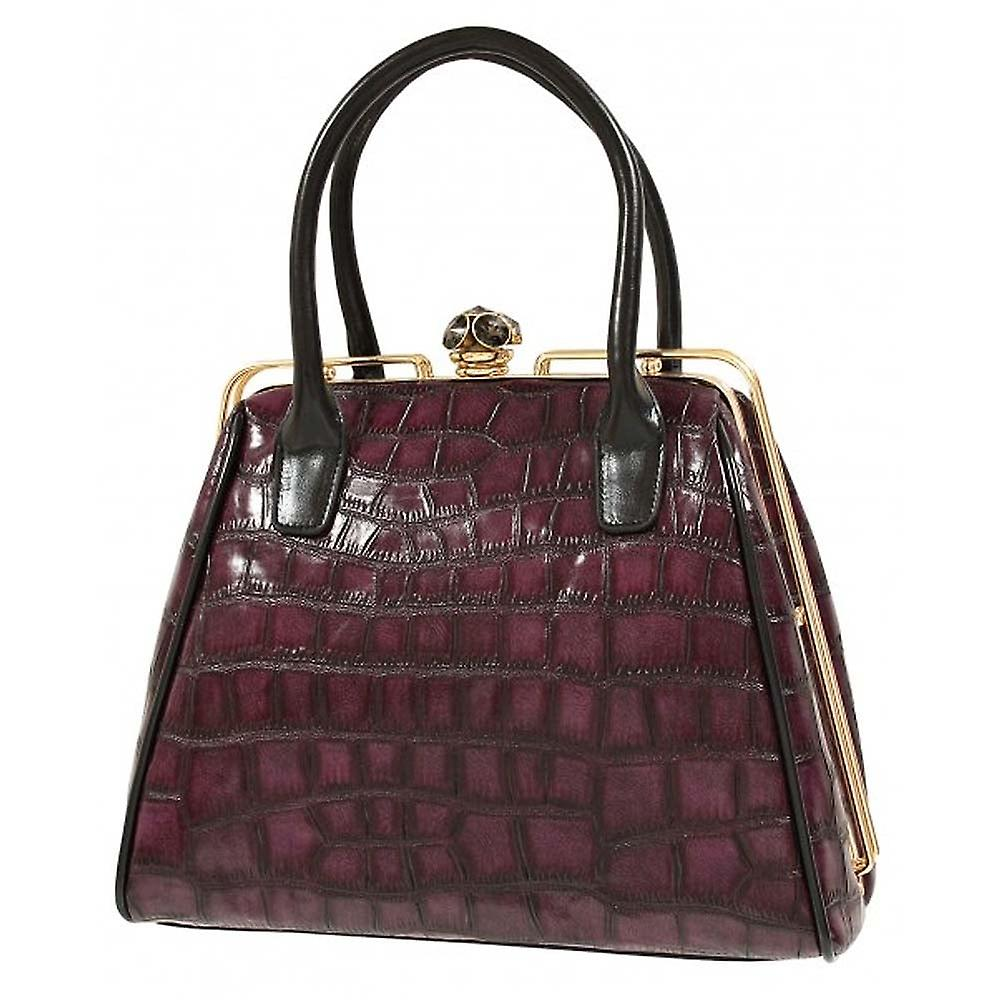 Envy Bags Framed Croc Jewel Clasp Plum