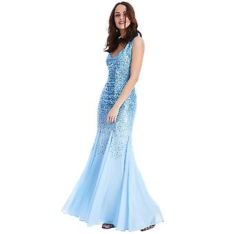 Goddiva Sequin Maxi Dress With Chiffon Inserts