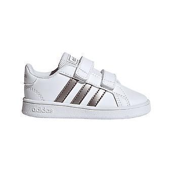 Adidas Infant Grand Court Shoes Silver Stripe