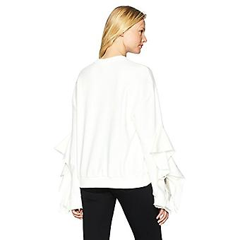 JOA Women-apos;s Ruffle TIE Sleeve Casual Soft Knit Sweatshirt, Blanc, Taille Petite