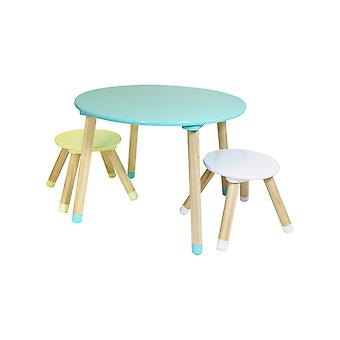 Charles Bentley Children's Wooden Table and Stools Furniture/Dining/Playroom Set Multi