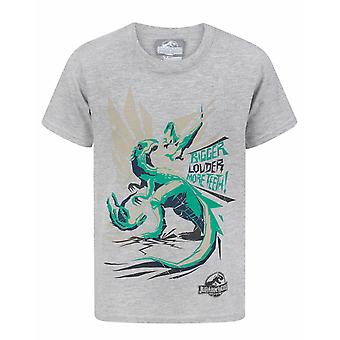 Jurassic World Bigger Teeth Boys Kid's Grey T-Shirt Top