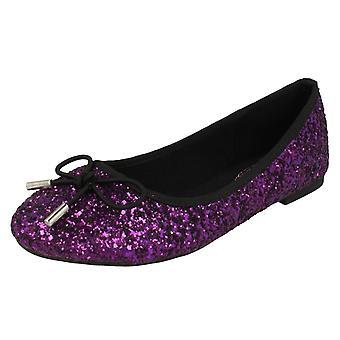 Ladies Anne Michelle Glittery Ballerina Shoes F80184