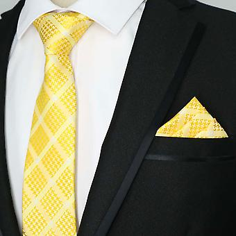 Golden orange silver cross pattern tie & pocket square
