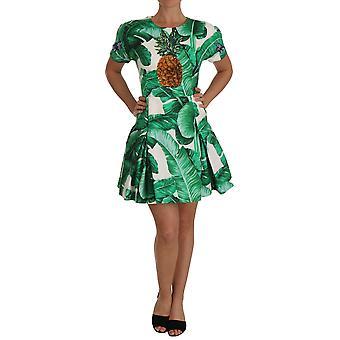 Dolce & Gabbana A-Line Banana Leaf ananas rochie de cristal