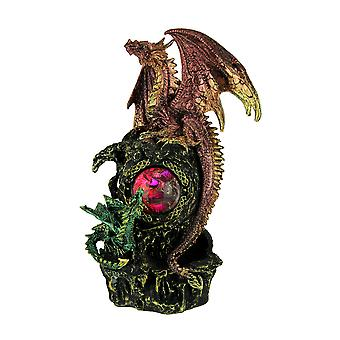 Red and Green Dragons with Red LED Crystal Orb Statue