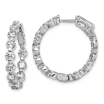 925 Sterling Silver Polished Prong set Safety clasp Rhodium plated Rhodium Plated With CZ Cubic Zirconia Simulated Diamo 925 Sterling Silver Polished Prong set Safety clasp Rhodium plated Rhodium Plated With CZ Cubic Zirconia Simulated Diamo 925 Sterling Silver Polished Prong set Safety clasp Rhodium plated Rhodium Plated With CZ Cubic Zirconia Simulated Diamo 92