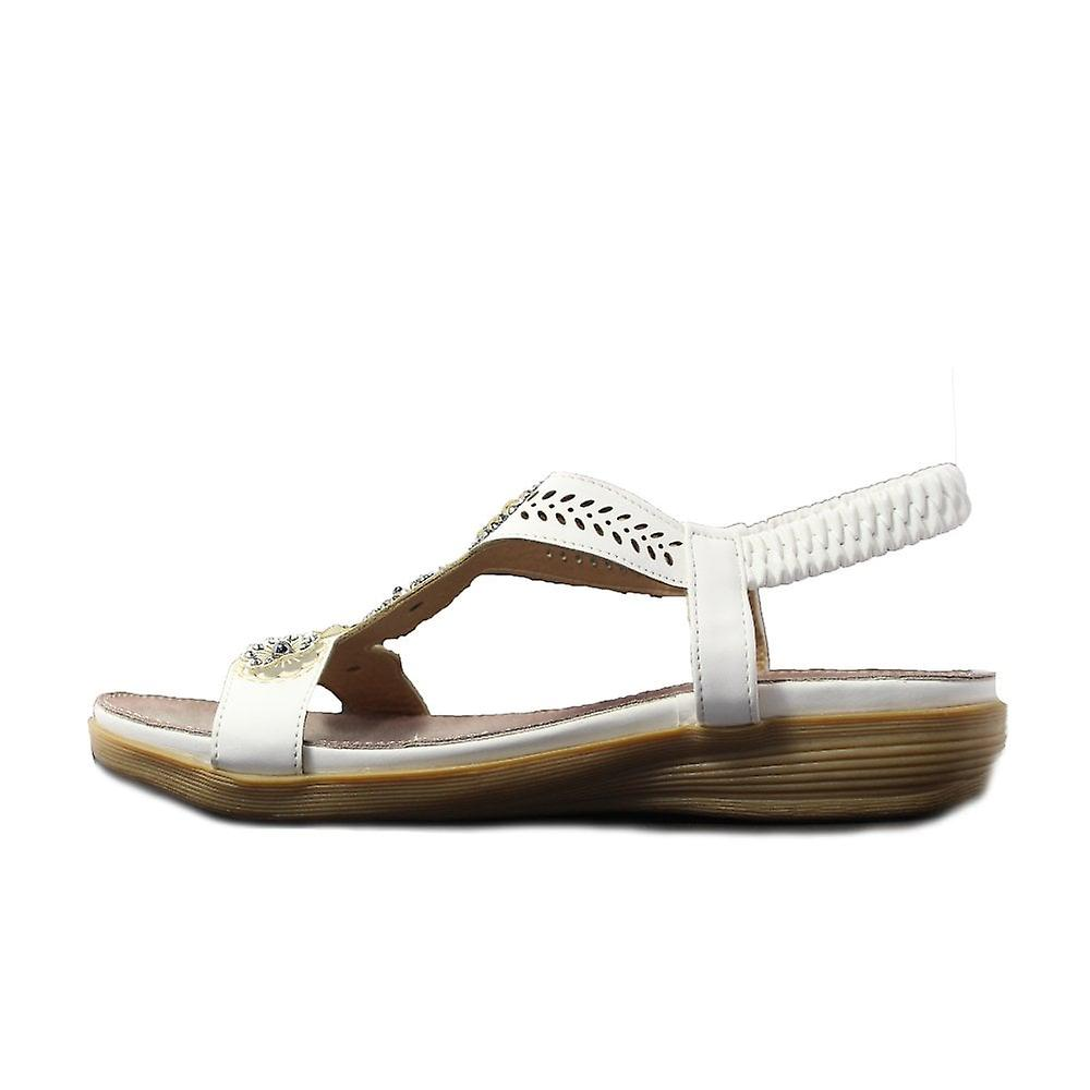 Fleet And Foster Caper White Womens Pull On Slingback Sandals