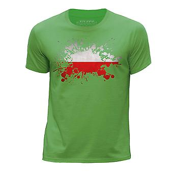 STUFF4 Boy's Round Neck T-Shirt/Poland/Polish Flag Splat/Green