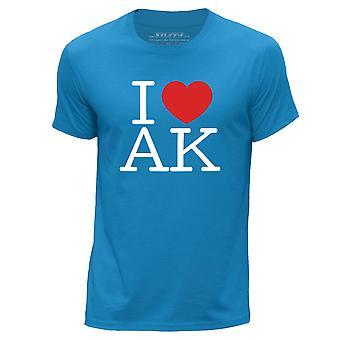 STUFF4 Men's Round Neck T-Shirt/I Heart AK / Love Alaska USA/Blue