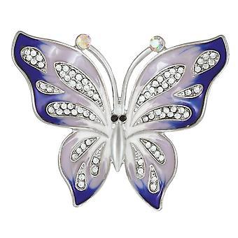 Eternal Collezione Karma lavanda blu smalto e cristallo argento tono farfalla spilla