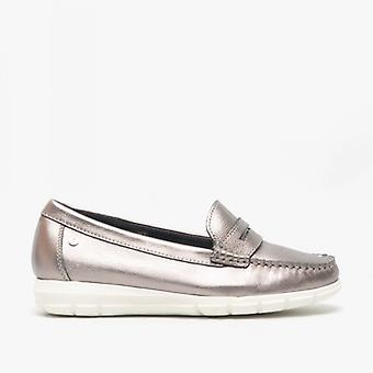 Hush Puppies Paige Ladies Leather Loafers Silver