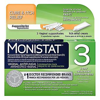 Monistat 3 3-day treatment disposable suppositories plus cream, 3 ea