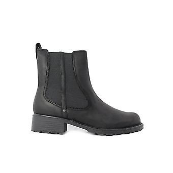 Clarks Orinoco Club sort eller brun læder dame trække på Chelsea Støvler