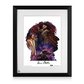 Tom Baker Signed Dr Who Silhouette Poster. Framed