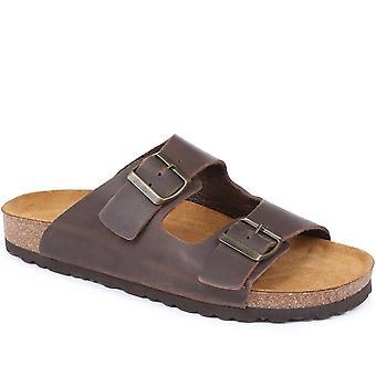 Jones Bootmaker Mens Hilston Dual Strap Lederen Sandaal