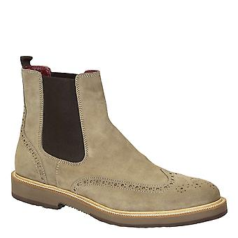 Leonardo Shoes Men's handmade brogues chelsea boots in beige suede leather