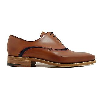 Barker Emerson Antique Rosewood Veau et Navy Suede Oxford Chaussures en dentelle