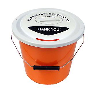 10 Charity Money Collection Buckets 5 Litres - Orange