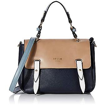 BESSIE LONDONColour Block Flap Top SatchelDonnaHand BagBlue (Blue)8x21x24.6 Centimeters (W x H x L)