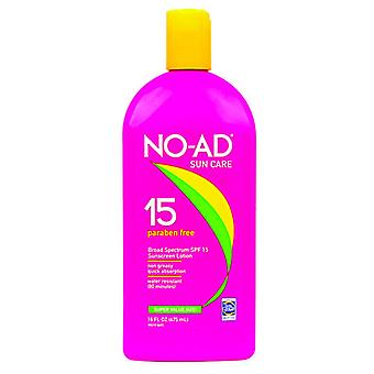 No-ad sunscreen lotion, water resistant, spf 15, 16 oz
