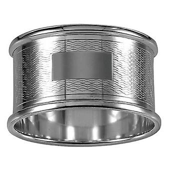 Orton West Engraved Round Napkin Ring - Silver