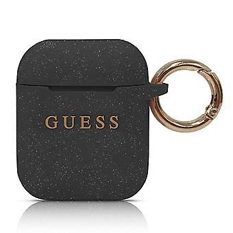 מניח אפל Airpods סיליקון טבעת כיסוי שחור מגן כיסוי כיסוי מקרה נרתיק מחזיק אביזרים