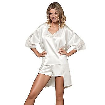Nipplex Women's Perla Milk Off White Embroidered Satin Dressing Gown Loungewear Bath Robe Robe