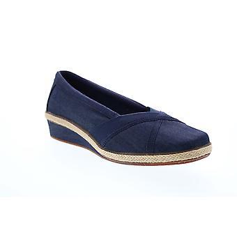 Grasshopper Misty Wedge  Womens Blue Canvas Slip On Flats Shoes